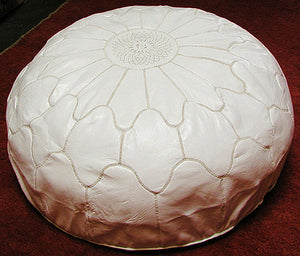 Large Moroccan Leather White Pouf
