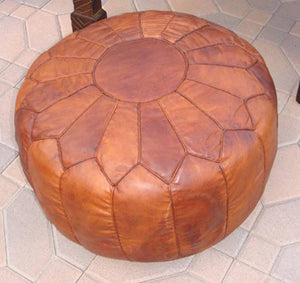 Moroccan large Brown Leather Hassock