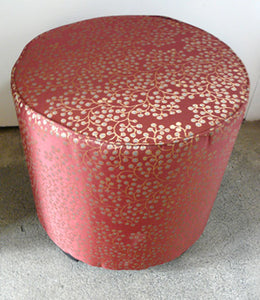 Moroccan Upholstered Red and Gold Fabric Stool