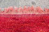 "Moroccan Red Shaggy High Pile Wool Tribal Rug ""Bed of Red Roses"""