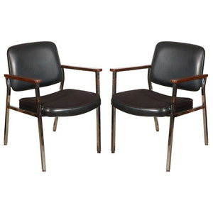 Bauhaus Chrome and Wood Black Armchairs