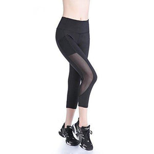 EAST HONG Womens Mesh Capri Workout Yoga Pants Running Tights Active Leggings (M.Black.)