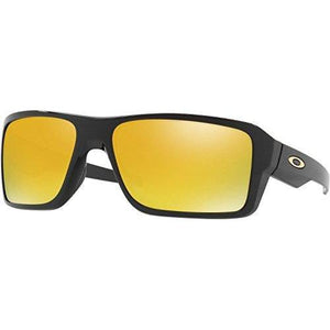 Oakley Men's Double Edge Non-Polarized Iridium Rectangular Sunglasses, Polished Black, 66 mm