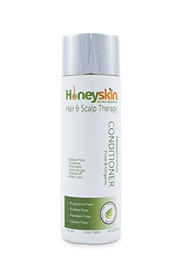 Gentle Restorative Conditioner (8 oz) Repairs & Soothes Itchy Dry Scalp, Seborrhea, Eczema, Psoriasis, Prevent Hair Loss, Natural Ingredients for Vibrant Healthy Hair & Scalp by Honeyskin Organics