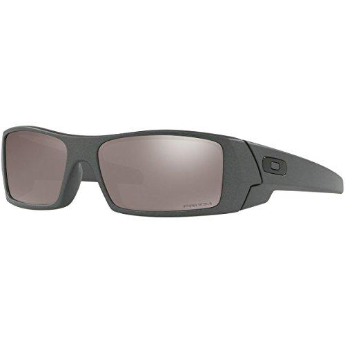 Oakley Men's Gascan Polarized Rectangular Sunglasses, Steel/Prizm Black, 60mm