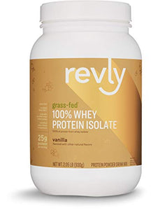 Amazon Brand - Revly 100% Whey Protein Isolate Powder, Vanilla, Grass-Fed, 2 lb, 30 Servings
