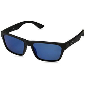 Costa del Mar Unisex-Adult Hinano Polarized Iridium Plastic Wayfarer Sunglasses, Blackout/Blue Mirror, 54.1 mm