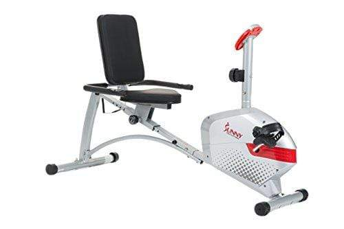 Sunny Health & Fitness Magnetic Recumbent Bike Exercise Bike, 300lb Capacity, Monitor, Pulse Rate Monitoring - SF-RB4417 Sport & Recreation Sunny Health & Fitness