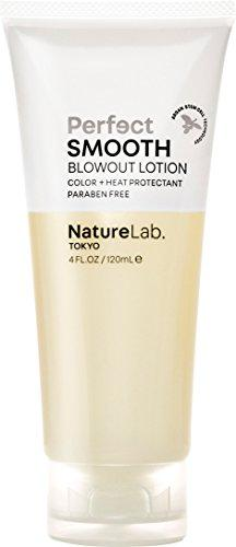 NatureLab. Tokyo – Perfect Smooth Blowout Lotion with Argan Stem Cells, for smooth, frizz- free hair. 4.0 fl oz Natural. Free of sulfates, harsh chemicals and animal cruelty. Heat and Color Protection