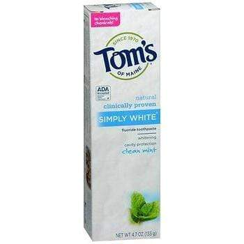 Tom's of Maine Natural Simply White Fluoride Toothpaste Clean Mint 4.70 oz (Pack of 2)