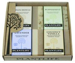 Plantlife Aromatherapy Herbal Soap 4 Pack Combo - Earth Gift Set - Patchouli, Peppermint, Lavender, and Rosemary Tea Tree