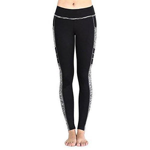 EAST HONG Women's Yoga Leggings Exercise Workout Pants Gym Tights (Black/Grey, M)