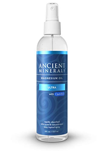 Ancient Minerals Magnesium Oil Ultra Spray with OptiMSM - Pure Genuine Zechstein Magnesium Chloride Supplement with MSM - Best Topical Skin Application for Dermal Absorption (8oz)