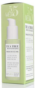 Medix 5.5 Tea Tree Oil for Face with Witch Hazel and Vitamin E. Face oil for dry skin, redness, blemishes, clogged pores. Large bottle with pump 2 Fl Oz