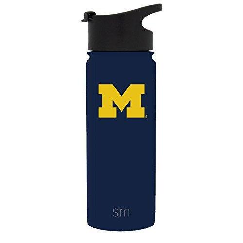 Simple Modern 18oz Summit Water Bottle - Michigan Wolverines Vacuum Insulated 18/8 Stainless Steel Travel Mug - Michigan