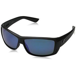Costa del Mar Unisex-Adult Cat Cay AT 01 OBMGLP Polarized Iridium Wrap Sunglasses, Blackout, 60.9 mm