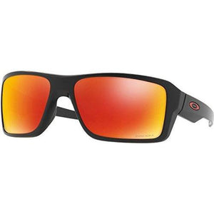Oakley Men's Double Edge Polarized Iridium Rectangular Sunglasses, Matte Black/Prizm Ruby Polarized, 66.02 mm