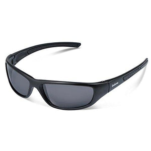 Duduma Tr8116 Polarized Sports Sunglasses for Baseball Cycling Fishing Golf Superlight Frame(Black matte frame with black lens)