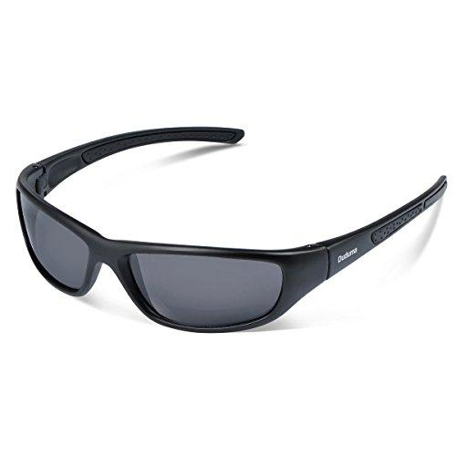 Duduma Tr8116 Polarized Sports Sunglasses for Baseball Cycling Fishing Golf Superlight Frame(Black matte frame with black lens) Sunglasses Duduma