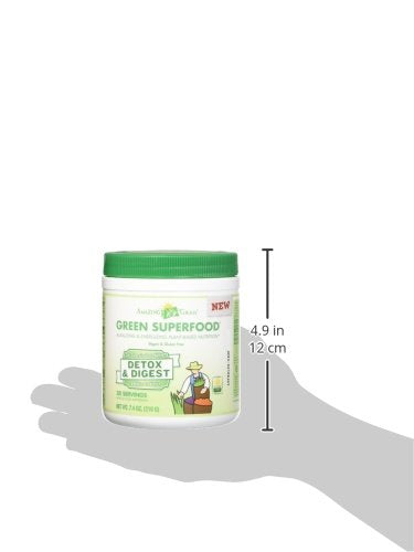 Amazing Grass Green Superfood Detox and Digest Organic Powder with Wheat Grass and Greens, 1 Billion Probiotics, Flavor: Clean Greens, 30 Servings