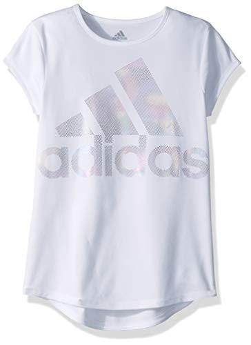 adidas Girls' Big Short Sleeve Scoop Neck Tee T-Shirt, White BOS Foil Rainbow, M