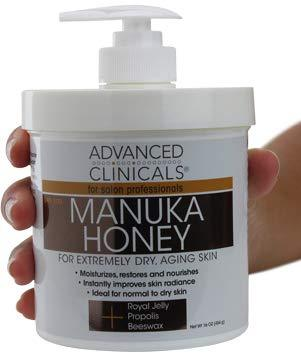 Advanced Clinicals Manuka Honey Cream for Extremely Dry, Aging Skin For Face, Neck, Hands, and Body. Spa Size 16oz.
