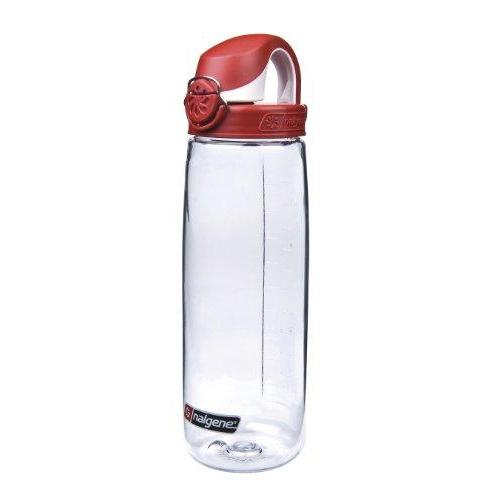 Nalgene Tritan On The Fly Water Bottle, Clear with Red/White, 24Oz Sport & Recreation Nalgene