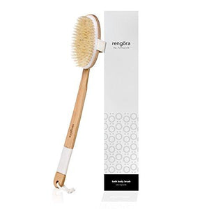 "BATH BRUSH 18"" EXTRA LONG HANDLE: Exfoliating Brush, Natural Bristle Shower Brush"