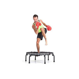 JumpSport 350F | Folding Fitness Trampoline, In-Home Rebounder | Easy Transport | No-Tip Arched Legs | Safe & Stable Bounce for Quality & Durability | 4 Music Workout Videos Incl.