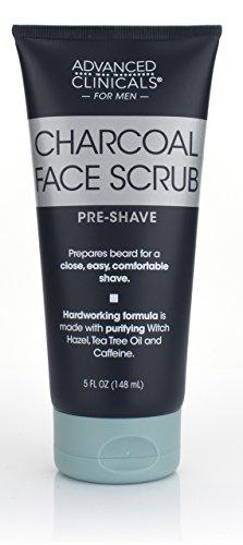Advanced Clinicals Charcoal Face Scrub with Sandalwood, Tea Tree oil and witch hazel. The best Pre-Shave cleanser to prepare your beard for a close, comfortable shave. Sulfrate-free. 5oz