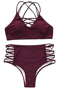 CUPSHE Women's Wine Red Fabric Texture Bikini Set Beach Swimwear Bathing Sui (M)