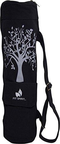 Tree of Life Exercise Yoga Mat Bag w/ 2 Cargo Pockets - Black