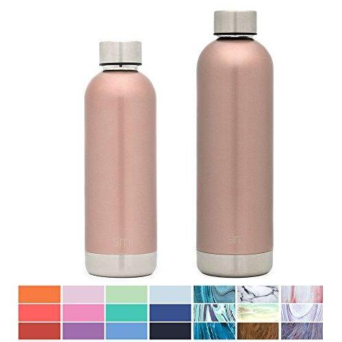 Simple Modern 17oz Bolt Water Bottle - Stainless Steel Hydro Swell Flask - Double Wall Vacuum Insulated Reusable Gold Small Kids Metal Coffee Tumbler Leak Proof Thermos - Rose Gold Sport & Recreation Simple Modern