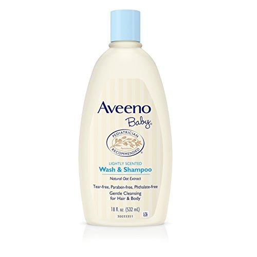 Aveeno Baby Gentle Wash & Shampoo with Natural Oat Extract, Tear-Free &, Lightly Scented, 18 fl. oz