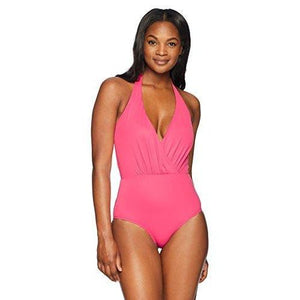 Coastal Blue Women's Standard Wrap Front Halter Neck One Piece Swimsuit, Maui Rose, L