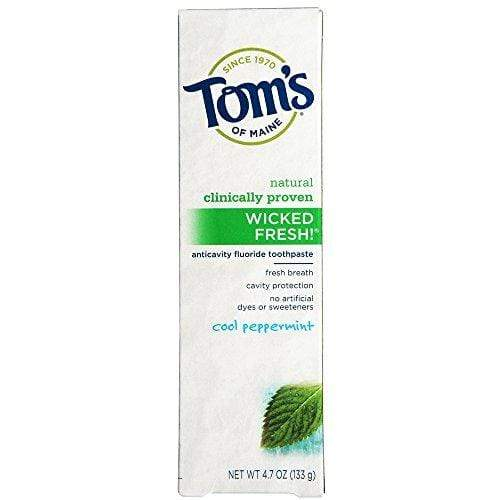 Tom's of Maine Natural Wicked Fresh Fluoride Toothpaste Cool Peppermint 4.70 oz (Pack of 4)