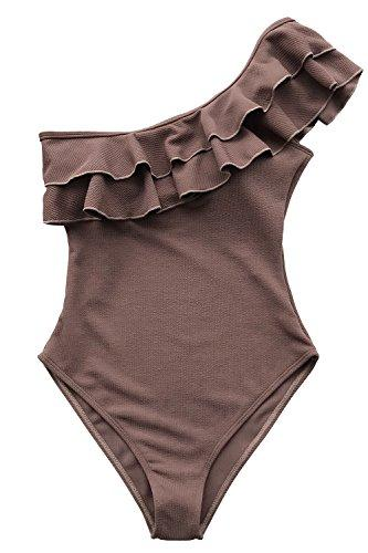 CUPSHE Women's Solid Coffee One Shoulder Falbala One-Piece Swimsuit Swimwear Bathing Suit, M