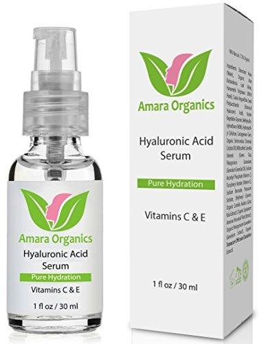 Amara Organics Hyaluronic Acid Serum for Skin with Vitamin C & E, 30 ml by Amara Organics