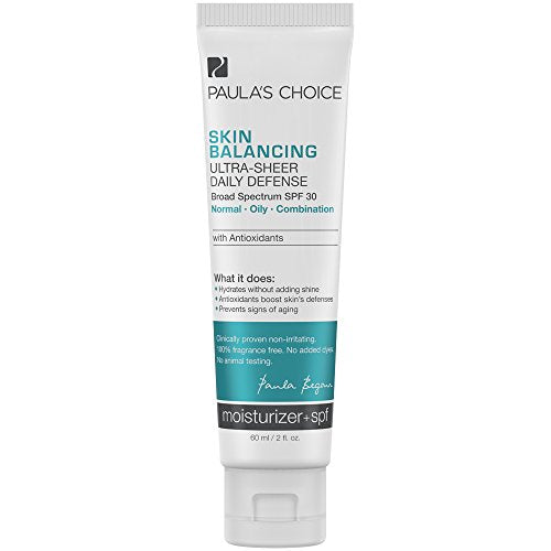Paula's Choice SKIN BALANCING Ultra-Sheer Daily Defense SPF 30 Oil-Free Moisturizer, 2 Ounce Tube