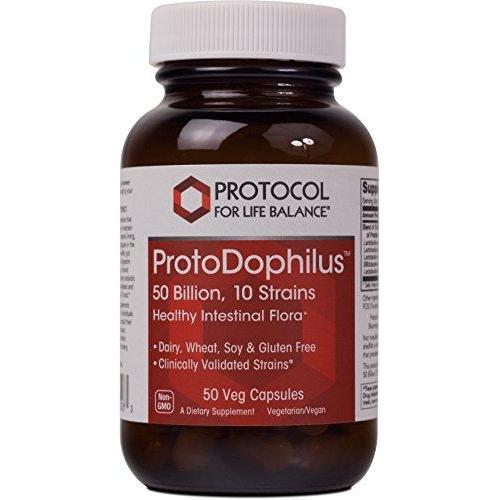 Protocol For Life Balance - ProtoDophilus™ - 50 Billion, 10 Strains - Healthy Intestinal Probiotic Flora to Support Digestive Function and Immune Health - 50 Veg Capsules Supplement Protocol For Life Balance