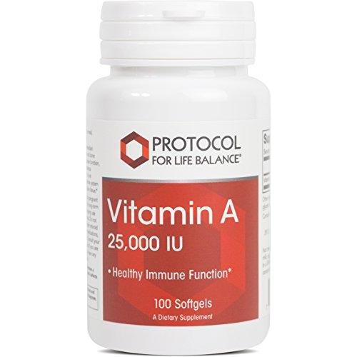 Protocol For Life Balance - Vitamin A 25,000 IU - Promotes Healthy Immune Function, Anti-Oxidation, and Provides Cellular Support - 100 Softgels Supplement Protocol For Life Balance