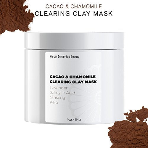 HD Beauty Cacao Clearing Acne Face Mask - Bentonite Clay, Salicylic Acid + Sulfur for Blemishes and Calendula + Chamomile for Soothing, 4 oz.