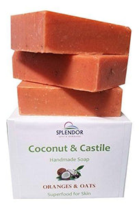 Oranges & Oats Coconut Castile Soap with ORGANIC Shea butter. Handmade USA, Vegan, Natural, Moisturizing.