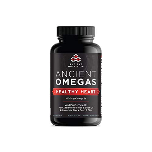 Ancient Nutrition Ancient Omegas Healthy Heart - ALA, DHA, EPA, ETA from Wild Caught Fish - 90 Capsules