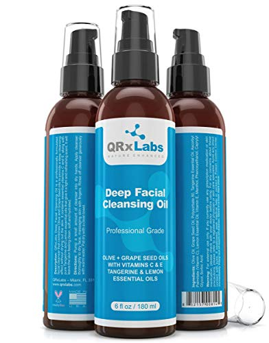 Deep Facial Cleansing Oil with Olive and Grape Seed Oils, Tangerine & Lemon Essential Oils, Boosted with Vitamins C & E - BEST Cleanser for Dry Skin - 6 fl oz