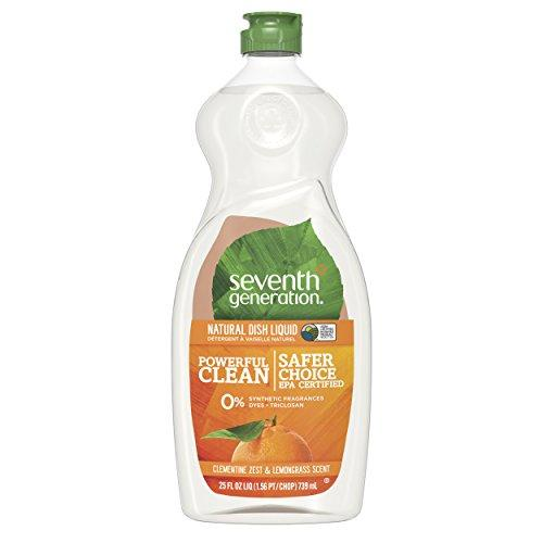 Seventh Generation Dish Liquid Soap, Clementine Zest & Lemongrass Scent, 25 oz, Pack of 6 (Packaging May Vary)