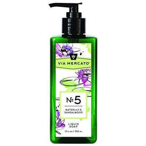 Via Mercato Liquid Soap, Shea Butter Enriched (12 oz) - No. 5 - Waterlily and Sandalwood