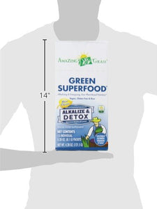 Amazing Grass Green Superfood Alkalize & Detox Organic Powder with Wheat Grass and Greens, Flavor: Simply Pure, Box of 15 Individual Servings