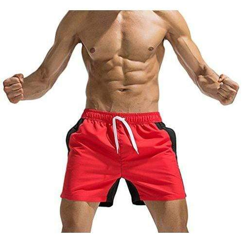 WUAMBO Men's Swim Trunks Athetic Shorts with Pocket #6 Red US S Waist 29