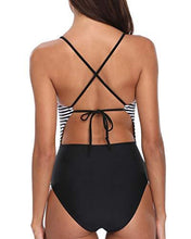 Holipick Women 1 Piece Sexy Halter Keyhole Monokini Stripes Backless Top with Black Bottoms Bathing Suits Black L